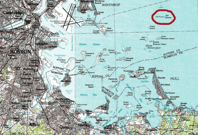 A topographical map of Boston Harbor shows Graves Light, circled in red.