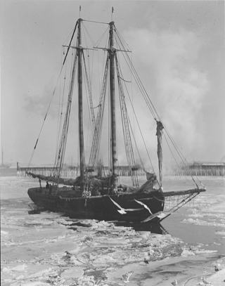 The Mary E. O'Hara in an icy Boston Harbor, 1930.