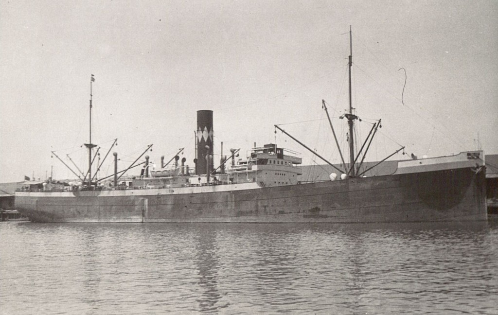 The SS City of Salisbury, at a British port. The pattern on the stack is different from when it would wreck in 1938.
