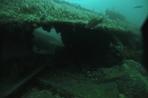 A section of the hull of the SS City of Salisbury, at the bottom of Boston Harbor, May 23, 2014.