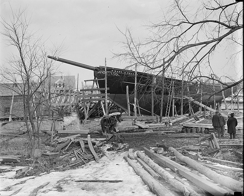 The Mary E. O'Hara under construction at Essex boat yard. (Courtesy Boston Public Library)