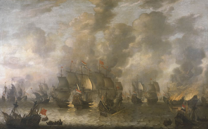 Battle of Scheveningen, 1653, in which Thomas Graves died. Painting by Jan Abrahamsz Beerstraaten, 1654. Courtesy Wikimedia Commons.