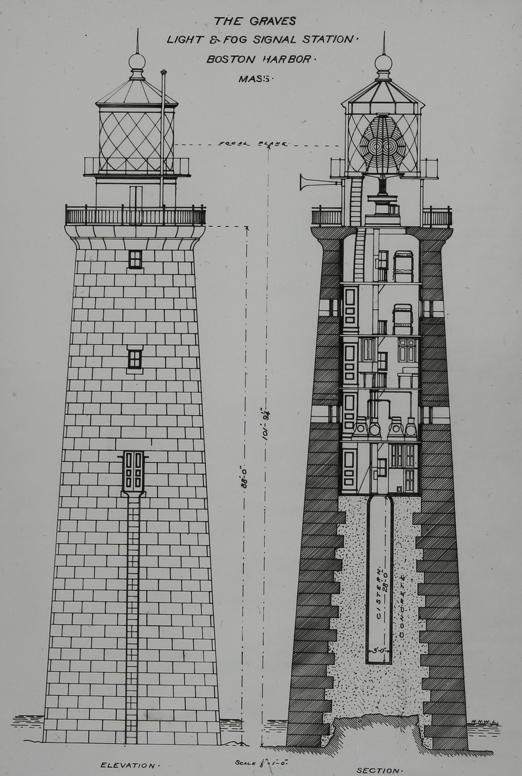 Architectural drawing of Graves Light shows how the tower was built atop a stump of the ledge, and the internal facilities: two cisterns, five levels within the granite walls, and two levels above. Note the dual round lenses within the giant first-order Fresnel Lens that gave Graves its distinctive two-flash pattern. (Photo courtesy of the Massachusetts Historical Society)