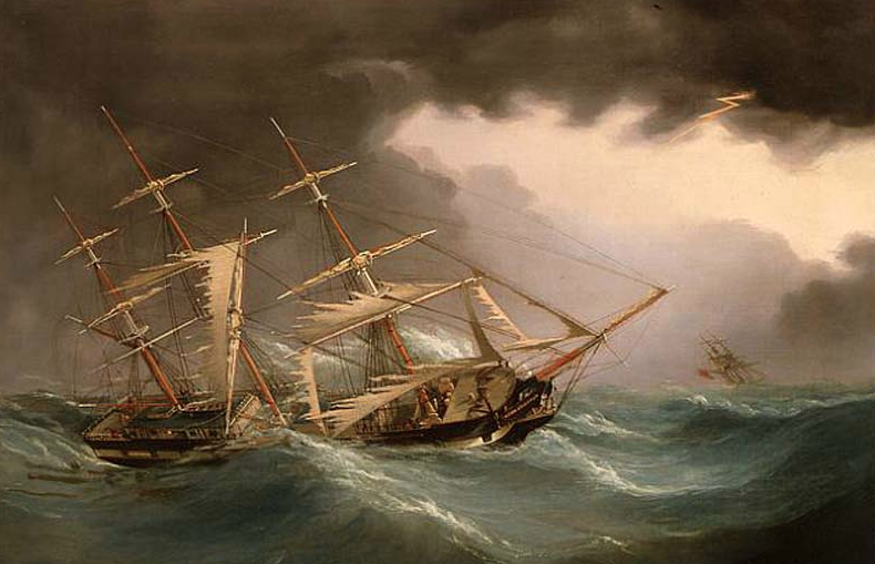Captain Ewan Crerar went down on the Lord Ashburton, depicted in this painting, in the Bay of Fundy in January 1857. His family built a brig and named it after him, launched in May 1858. The vessel, Ewan Crerar, struck Graves Ledge during a storm in 1860, and sank nearby.