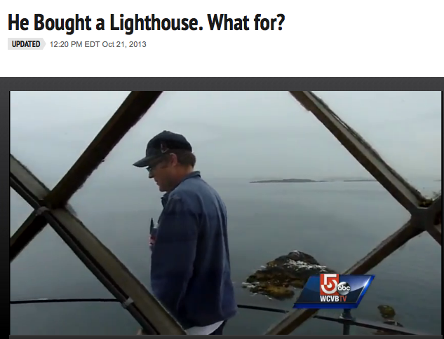 "Dave on the walkway that surrounds the lamp room at the top of Graves Light. (Photo courtesy of ""Chronicle,"" WCVB-TV Channel 5)"