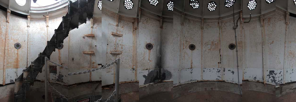 Panoramic view of the iron level, above the top of the granite tower and below the lamp room. Click on image to get the full view.