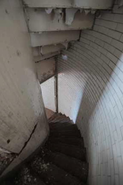 The stairway, looking down to level 1 from level 2.