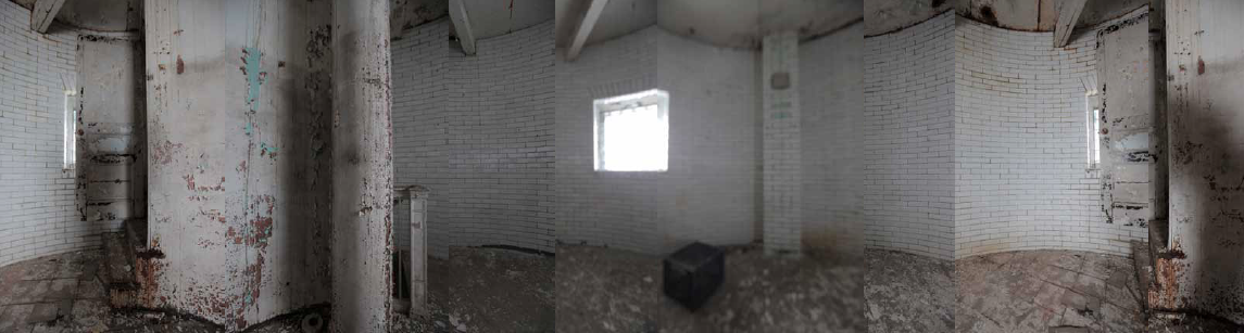 A panoramic view of level 3. This empty room gives a good idea of the size. Each of the 4 levels inside the granite tower is only 13 feet in diameter.