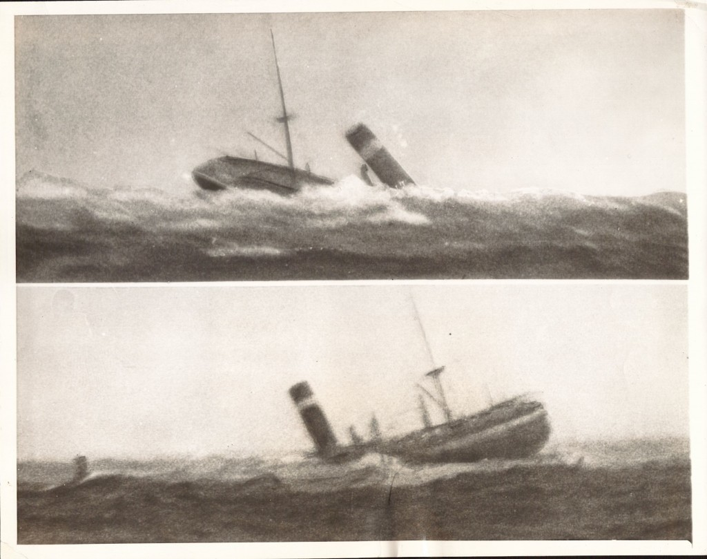 The smokestack of the SS City of Salisbury snaps off as the hull of the wrecked steamer makes its final plunge.