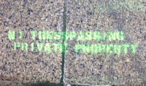 We painted signs on the base of Graves Light to warn unauthorized visitors that they are trespassing.