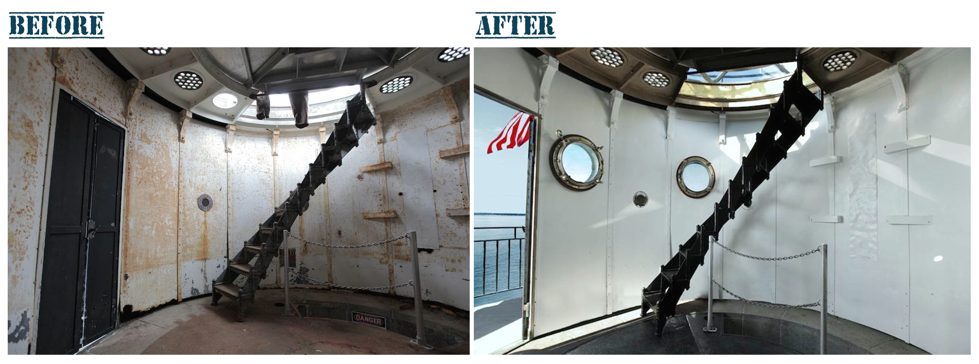 The Watch Room at Graves Light, before initial cleaning and painting (left) and after sandblasting and first coats of primer and paint (right).