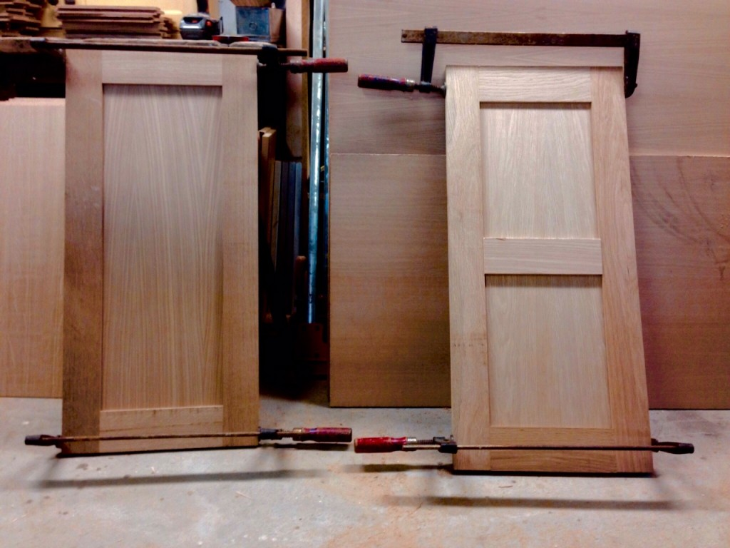 Wide interior oak panels for the reconstructed casement windows, made by Karl Phillips of Nantucket.