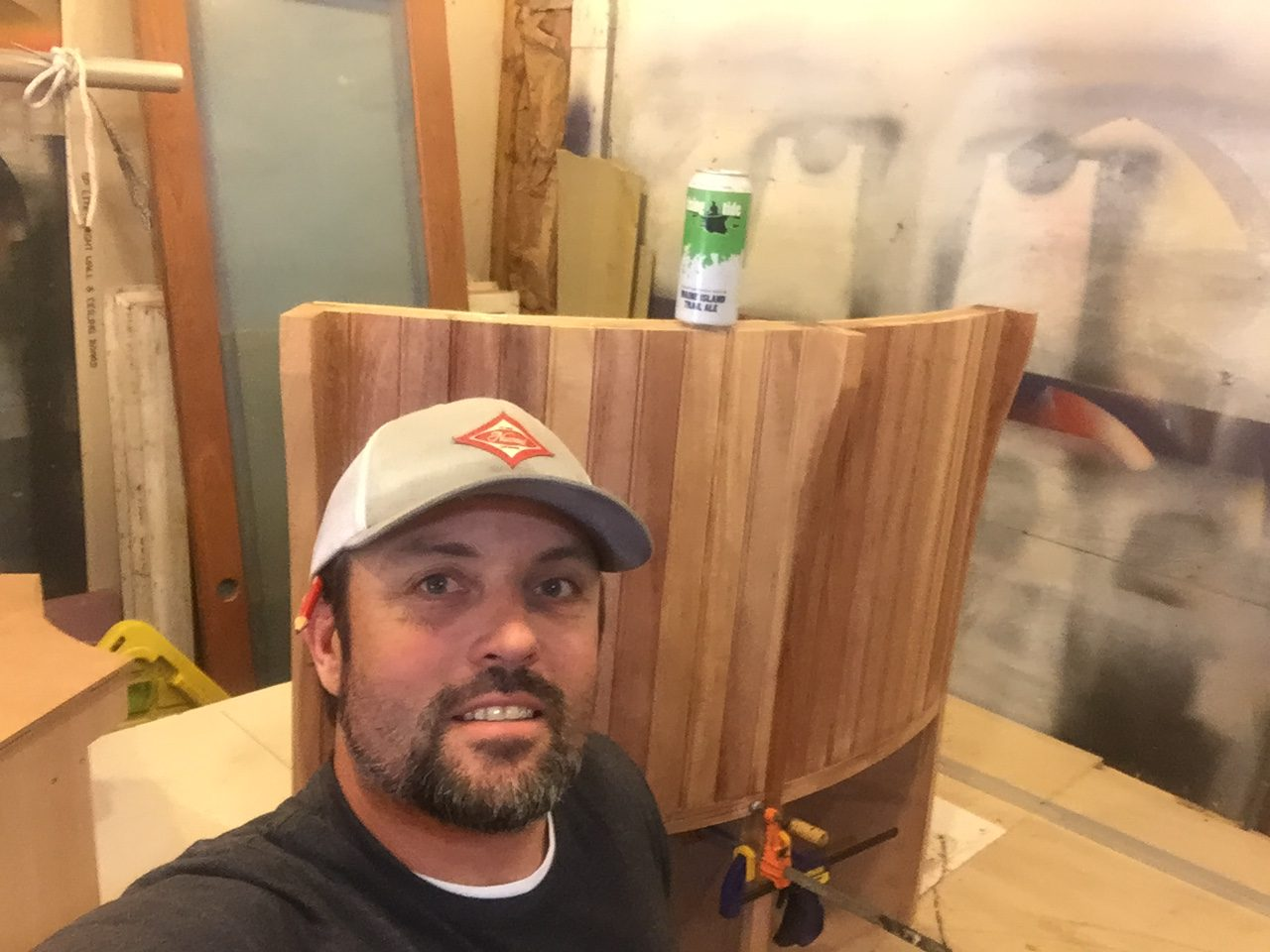 Nat of NMT Woodworking shows some of the mahogany benches he built for our kitchen.