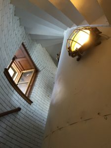 The staircases on all levels of Graves Light now shine with the new electrical system.