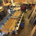 The Murphy bed under construction at NMT's shop.