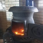 Feet up: Now we can relax by the warm potbelly stove, no matter what the weather.