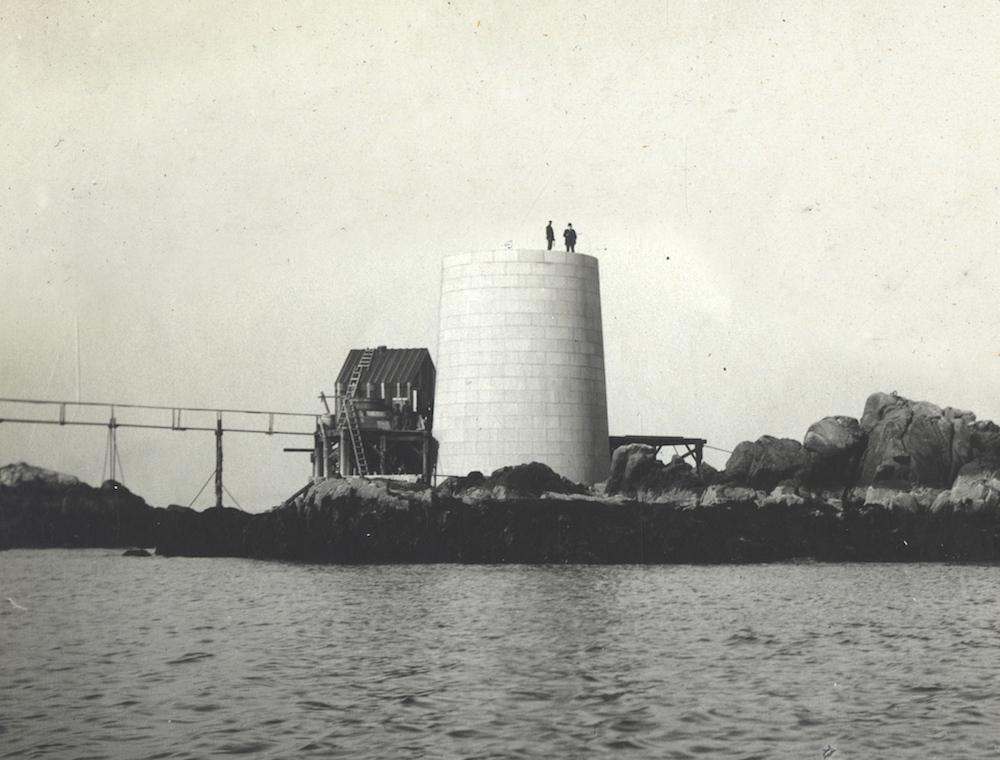 Graves Light under construction, 115 years ago today - Graves Light